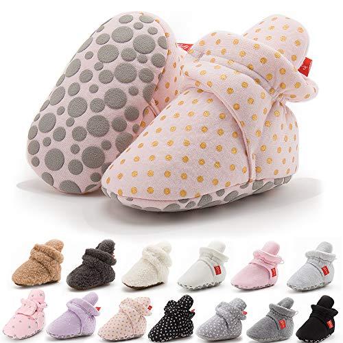 BiBeGoi botines de algodón suave antideslizante suela invierno cálido y acogedor estancia en calcetines recién nacido niño primer caminante cuna zapatos, color Negro, talla 0-6 meses