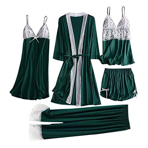 Pyjama Damen Nachthemd Schlafanzug 5Pc Sexy Nachtwäsche Frauen Satin Spitze Unterhemd Hosen Shorts Nachthemd Robe Pyjama Dessous Seidenkleid Chemise De Nuit Femme 3XL Grün