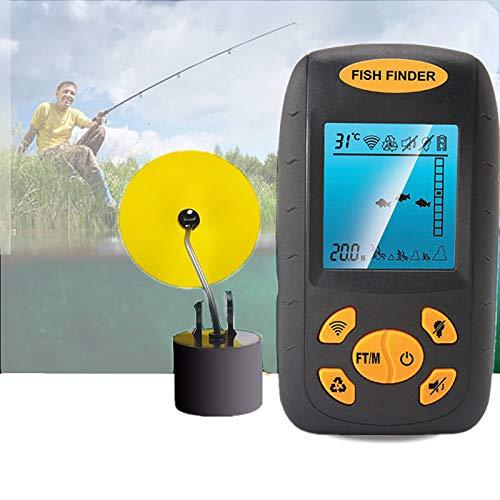 Zdcdy Portable Fish Finder, Fishfinder with Wired Sonar Sensor Transducer, Fishfinder Alarm with LCD Display, Wireless Sonar Fishing Water Depth Finder, Depth Range 0.6 to 100m