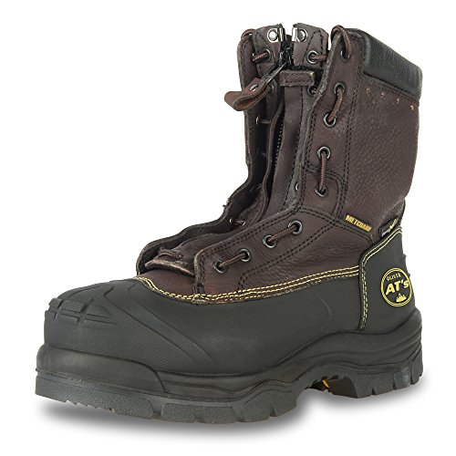 """Oliver 65 Series 8"""" Leather Chemical-Resistant Steel Toe Lace-In Zipper Men's Metatarsal Boots, Brown (65392)"""