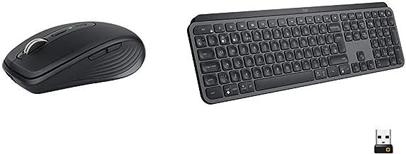 Logitech MX Anywhere 3 Compact Performance Mouse, Wireless with Logitech MX Keys Advanced Wireless