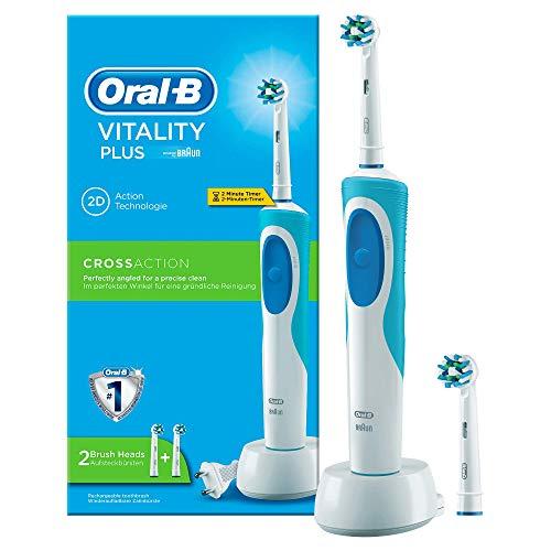 Oral-B Vitality Elektrische Zahnbürste, mit Timer und zwei CrossAction Aufsteckbürsten, weiß/blau