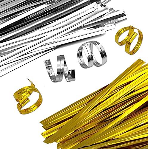 Lazos de Torcedura,1600 PCS Metálicas Bolsas Celofán Lazos Corbatas Giratorias de Papel de Aluminio Dorado y Plateado para Celofán Dulces Galletas Bolsa de Regalo para Hornear Fiesta 8CM