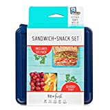 """Fit & Fresh Sandwich & Snack Set, Reusable Food Container for Sandwich and Snack with Removable Ice Pack, BPA-Free, Freezer/Microwave/Dishwasher Safe, 5.75"""" x 6"""" x 3.63"""", Blue"""