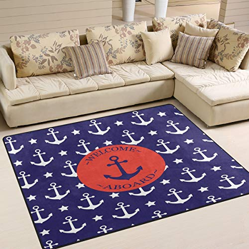 ALAZA Ocean Sea Anchor Star Welcome Area Rug Rugs for Living Room Bedroom 7' x 5'
