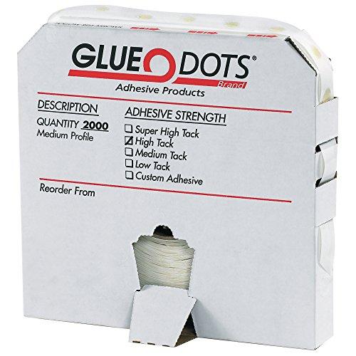 Glue Dots Medium Profile High Tack Glue Dot, 1/2' Diameter x 1/32' Thick, Case of 2000 (GD105)