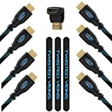 Twisted Veins 3ACHB10 Pacchetto per Ricevitori Multipli. Tre Cavi HDMI Premium da cm 90 e Un Cavo HDMI Premium da m 3. Supporta HDMI 2.0b 4K 60Hz (Potrebbe supportare 4K 30Hz su Alcuni dispositivi)