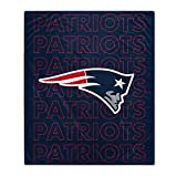 Pegasus Sports NFL Echo Team Wordmark Plush Blanket- New England Patriots, Team Color, 60x70
