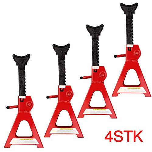 KingSaid 4 Stück Unterstellböcke Unterstellbock Set Höhenverstellbar 3T für Auto KFZ Rot