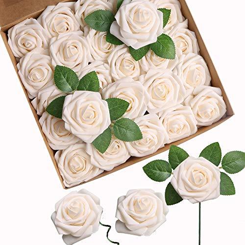 ACDE Künstliche Rosen, Künstliche Blumen 25 Stücke Gefälschte Rosen w/Stamm für DIY Hochzeitssträuße Mittelstücke Braut Dusche Party Home Decorations (Champagner)