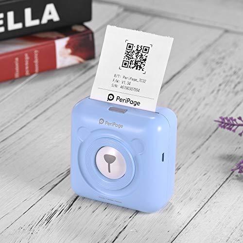 Aibecy PeriPage Mini Fotodrucker Wireless BT Thermodrucker Bild Fotoetikett Memo Quittungspapierdrucker mit USB-Kabel Silikonhülle