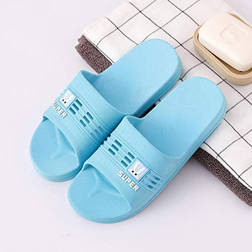 B/H Mules Mixte Adulte,Petites Pantoufles en Plastique de Salle de Bain de Lapin Blanc, Pantoufles Souples antidérapantes-Bleu-Femelle_UK3.5-UK4.5,Anti-Dérapage de Bain Pantoufle