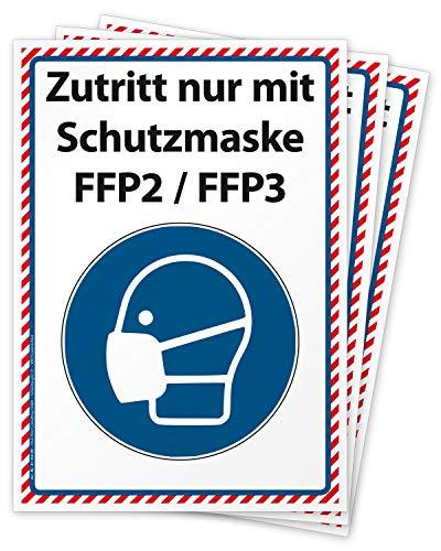 3 Aufkleber Maskenpflicht, Zutritt nur mit Schutzmaske (Filt.-Face-Piece 2 oder 3) Hinweis-Schild für die Corona Epidemie, Folie selbstklebend DIN A4 (297 x 210 mm) groß
