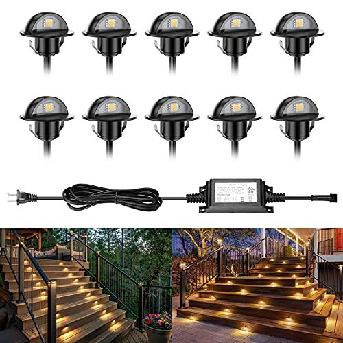 Deck Lights, ELTEIDL 10 Pack Low Voltage LED Step Lights Recessed Φ1.38