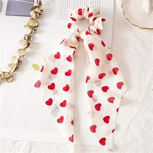 Fijnere perzik hart print strik satijn lang lint paardenstaart sjaal haar stropdas scrunchies dames meisjes elastische haarbanden haaraccessoires, rood