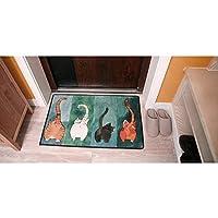 Freahap ドアマット 玄関マット キッチンマット 台所マット フロアマット 保護マット 滑り止め付き 洗える 猫柄 可愛い 北欧風 浴室 #4 60*90CM