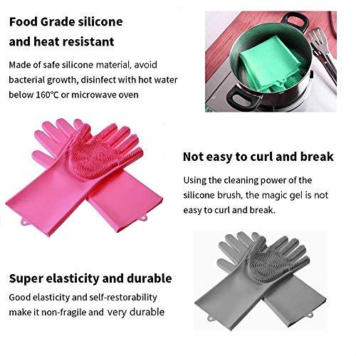 Product Image 2: MITALOO Magic Dishwashing Cleaning Sponge Gloves Reusable Silicone Brush Scrubber Gloves Heat Resistant for Dishwashing Kitchen Bathroom Cleaning Pet Hair Care Car Washing(Green)