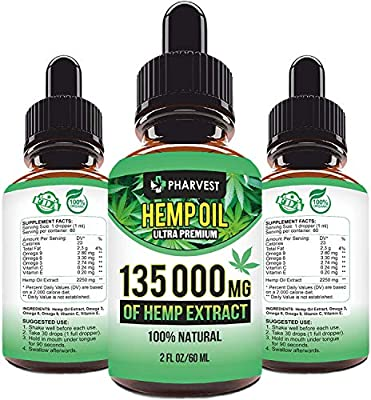 Pure Hemp Extract 135 000 MG for Pain Relief, Relaxation, Immune System Support, Sleep and Mood Support, Natural, Organic, Vegan, Zero CBD from PHARVEST
