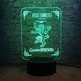 3D Nachtlicht Optische Illusion Lampe Spielhaus Lannister Tisch Schreibtisch Usb Touch Startseite...