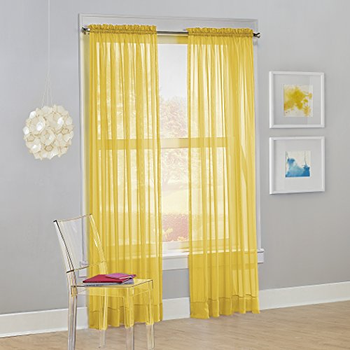 "No. 918 Calypso Sheer Voile Rod Pocket Curtain Panel, 59"" x 84"", Lemon, 1 Panel"