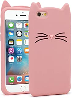 BEFOSSON Cute 3D Cartoon Kitty Whisker Cat Soft Silicone Rubber Shockproof Protective Phone Cover Case for iPhone 6 / iPhone 6S Case for Girls (Pink) 4.7 inches