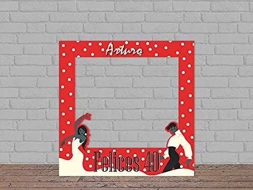 Oedim Photocall Feliz Cumpleaños Flamenco Personalizado + Atrezzos, 100x100cm, photocall Decorativo para cumpleaños, decoración para Eventos