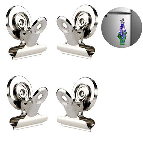 Qiorange Magnetclips Haken Kühlschrank - 4 Stück Super Stark Klammer Halter Kühlschrank Metall Magnet Klammer Kühlschrank Magnetisch Clips für Haus Büro Schule (30mm Silber 4Pcs)