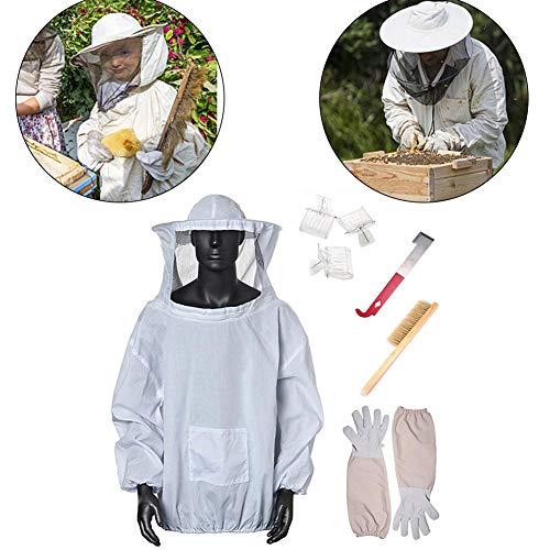 Professionelle Bienenzucht Set 7 Stücke Bienen Schutzbekleidung Imkeranzug mit Bienenpinsel,Handschuhe,Königinfänger, J-Förmiges Haken,Königinfänger für Bienenzüchter, Imker,Bee Keepers
