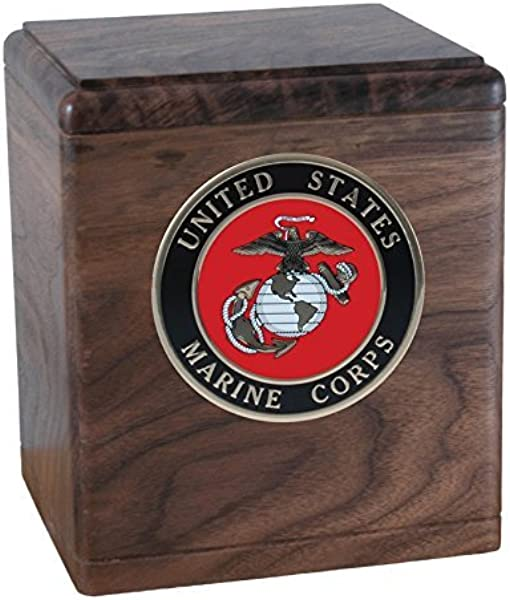 Wood Cremation Urn Walnut Freedom Military Marines