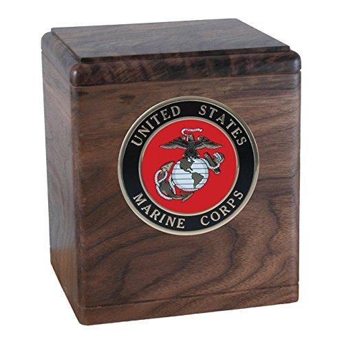 Wood Cremation Urn - Walnut Freedom Military (Marines)