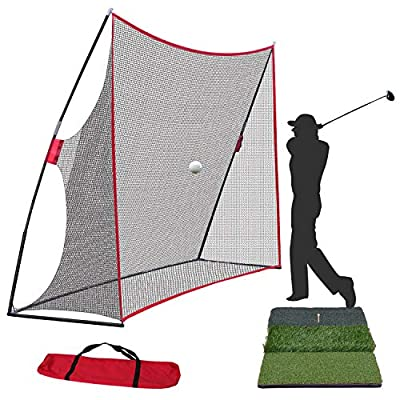 Smartxchoices Golf Net and Mat Bundle - 10x7ft Golf Net with Frame + Tri-Turf Hitting Mat with Carry Bag for Golf Practice Pitching Training Driving Backyard/Indoor/Outdoor