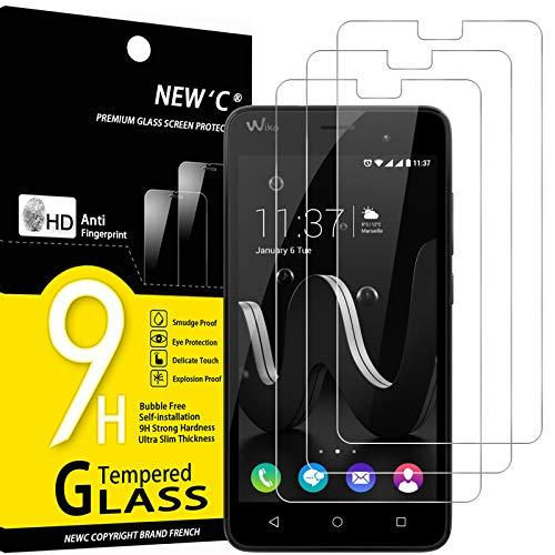 NEW'C 3 Stück, Schutzfolie Panzerglas für Wiko Jerry, Frei von Kratzern, 9H Festigkeit, HD Bildschirmschutzfolie, 0.33mm Ultra-klar, Ultrawiderstandsfähig