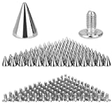 DECARETA 100 pcs Spikes Studs, Rivets Punk Spike Punk Spikes Rivet Silver Craft Cool Punk for...