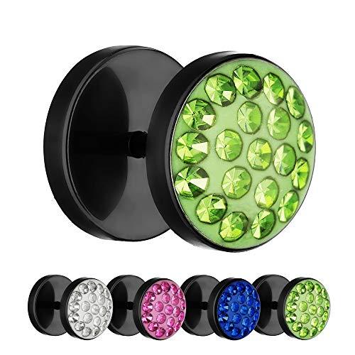Treuheld® | 10mm Titan Fake Plug Ohrstecker | Schwarz | Grüne Glitzer - Kristalle | Fake Tunnel Ohrring mit Gewinde zum Schrauben | Damen + Herren