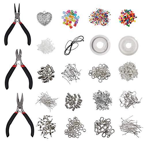 Schmuckherstellungs Zubehör Set mit Zangen - Versilbert und 100% Nickelfrei - Schmuckdraht, Ringe für Anhänger, Schneidwerkzeug, Perlen und Mehr - Groß DIY Basteln