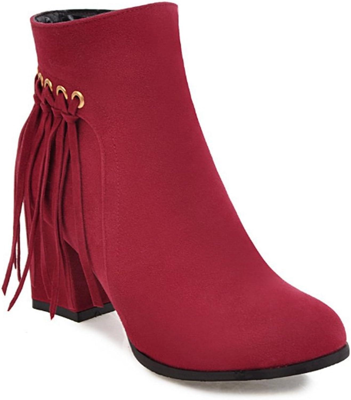 QQNVXUE Herbst und Winter Seitlicher Reiverschluss Martin Stiefel Hochhackige Frauenstiefel Angenehm warm (Farbe   rot, gre   40)