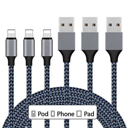 iPhone Charger, Sundix 3Pack 10ft Lightning Cable iPhone Charger Cable Nylon Braided Charging Cord Compatible iPhone XR XS XSMax X 8 8 Plus 7 7 Plus 6 6s Plus SE 5 5s 5c iPad iPod? (Blue)