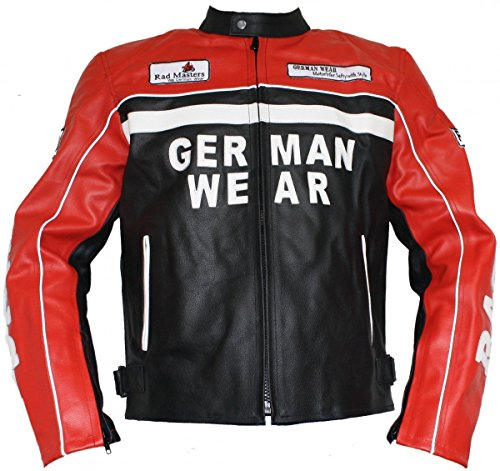 German Wear Motorrad Lederjacke Motorradjacke Rindsleder Jacke Schwarz/Rot, Größe:2XL