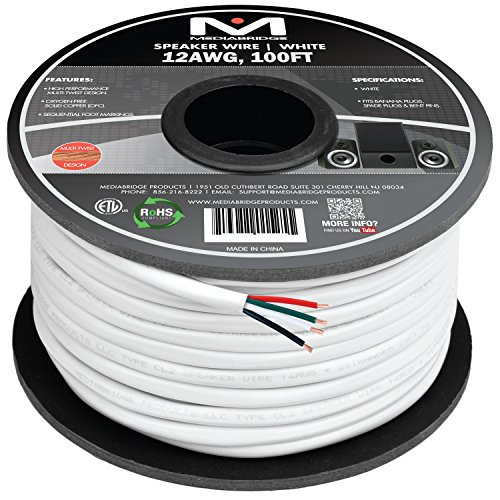 Mediabridge 12AWG 4-Conductor Speaker Wire (100 Feet, White) - 99.9% Oxygen Free Copper - ETL Listed & CL2 Rated for in-Wall Use (Part# SW-12X4-100-WH)