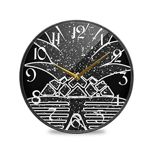 ART VVIES Reloj de Pared Redondo de 12 Pulgadas Que no Hace tictac silencioso Funciona con Pilas Oficina Cocina Dormitorio decoración del hogar-Gafas de Sol Negras piña