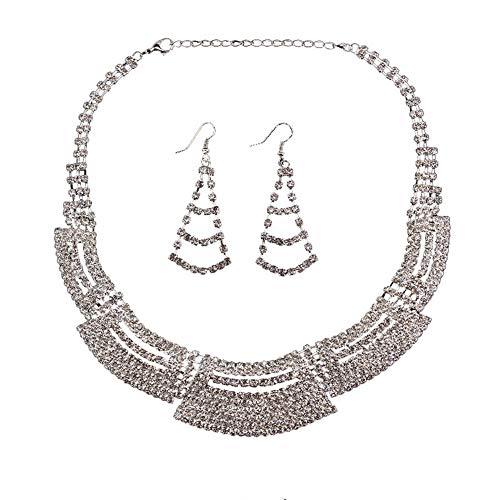 YAZILIND Moda Abanico Forma Rhinestone Collar Pendientes Conjunto de Joyas Nupciales Vestido...