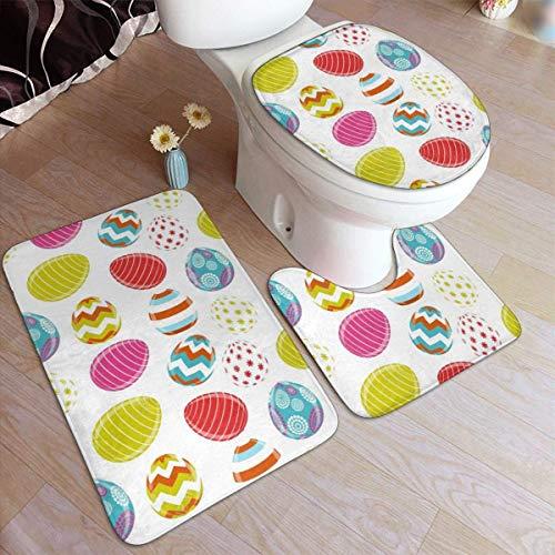 RedBeans Anti-Rutsch-Badvorleger, 3-teiliges Set, Flanell-Badezimmerteppich-Set, Osterei-weich, rutschfeste Duschmatte und WC-Decken-Vorleger Set