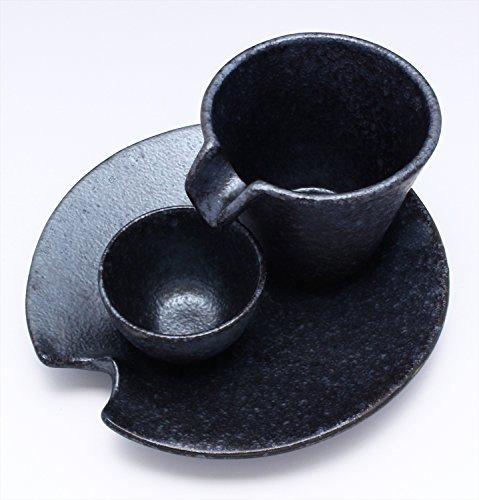 美濃焼カネコ小兵冷酒セット銀黒シズル555-0001
