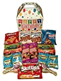Happy Birthday Care Package features fun birthday themed Gift Box stuffed with savory snacks and sweet candy treats