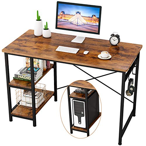 Engriy Writing Computer Desk 47', Home Office Study Desk with 2 Storage Shelves on Left or Right Side, Industrial Simple Style Wood Table Metal Frame for PC Laptop Notebook