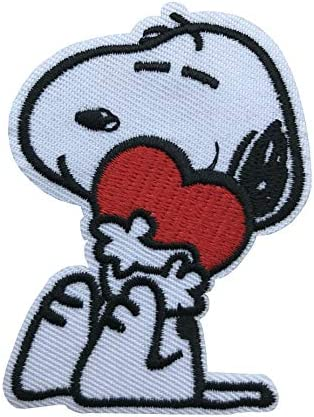 2 Sell Cute Dog Hugging Red Heart Iron on or Sew on Embroidered Applique Patch product image