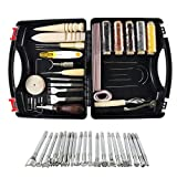 WHDZ 52pcs Leather Sewing Tools Kit DIY Leather Craft Tools Hand Stitching Tool Set, Prong Punch, Leather Stamping Tools, Wax Ropes Needles for Stitching Punching Cutting Sewing DIY Leather Craft Work