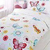 Butterfly Single - Funda de almohada y funda de edredón, Color Blanco