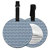 Round Travel Luggage Tags,Hand Drawn Style Indonesian Batik Pattern with Curves and...