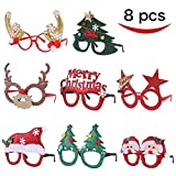 Pack of 8 Christmas Party Fancy Glasses Frames with 8 Designs Christmas Parties